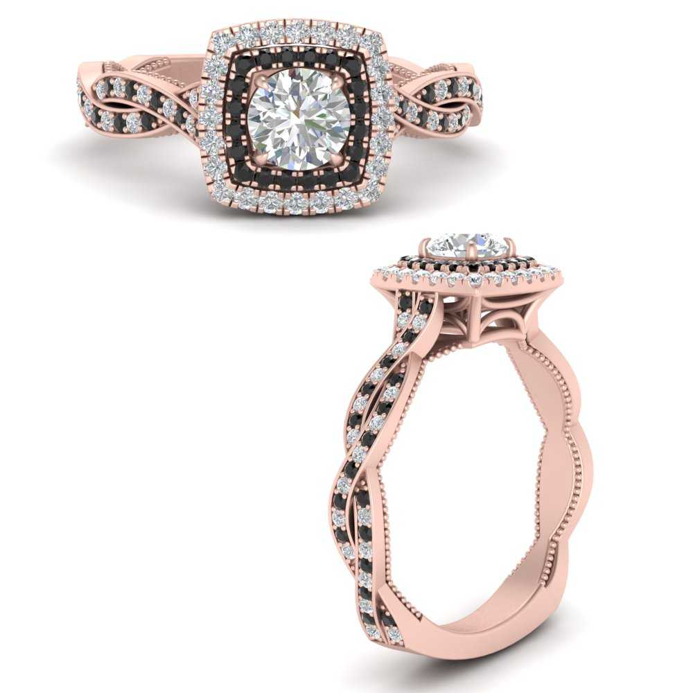 double-halo-round-cut-twisted-vintage-engagement-ring-with-black-diamond-in-FDENS3203RORGBLACKANGLE3-NL-RG
