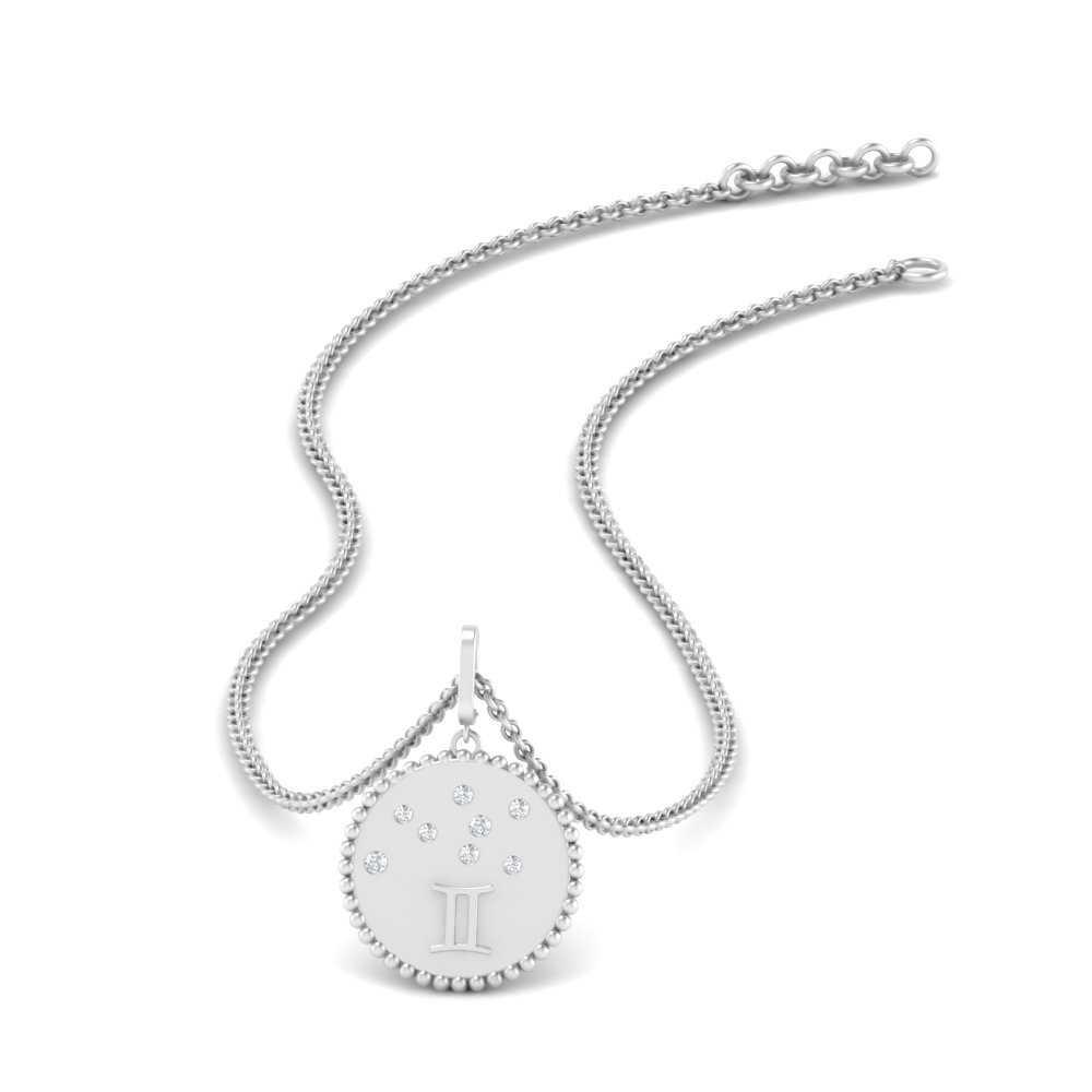 Gemini Disc Diamond Pendant