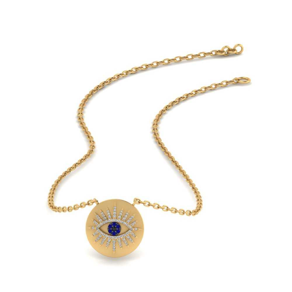Evil Eye Disc Gold Pendant