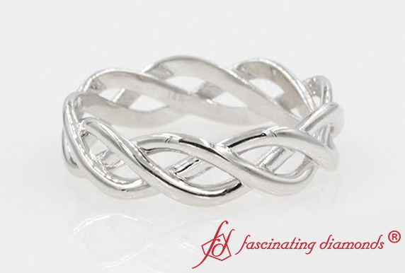 Twist Infinity Gold Wedding Anniversary Band For Mens