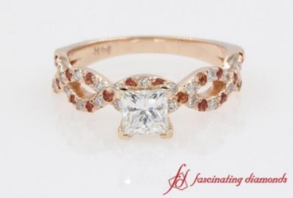 Princess Cut Infinity Ring With Orange Sapphire In 14K Rose Gold