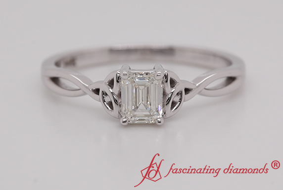 Celtic Emerald Cut Single Diamond Ring