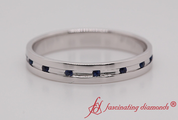 Classic Wedding Band With Sapphire