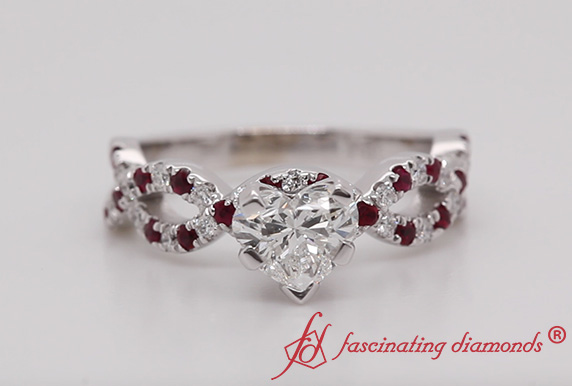 Infinity Heart Diamond With Ruby Ring