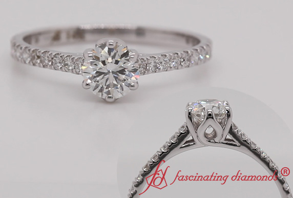 Six Prong Flower Basket Diamond Ring