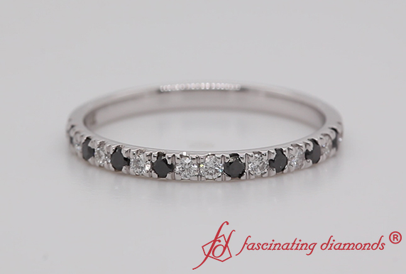 U Prong Black Diamond Wedding Band