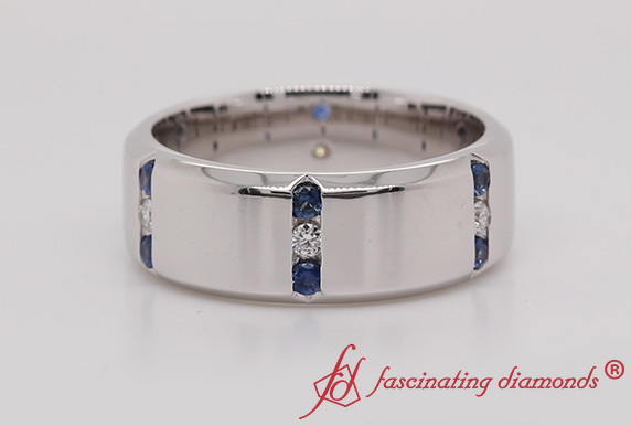 3 Stone Sapphire Mens Band
