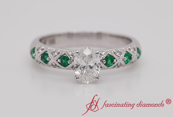 Cross Band Side Stone Engagement Ring