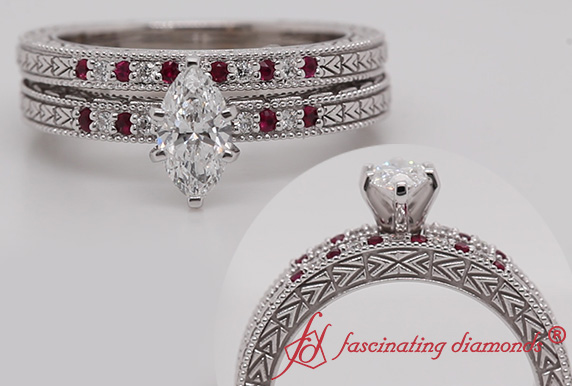 Marquise Cut Antique Wedding Set