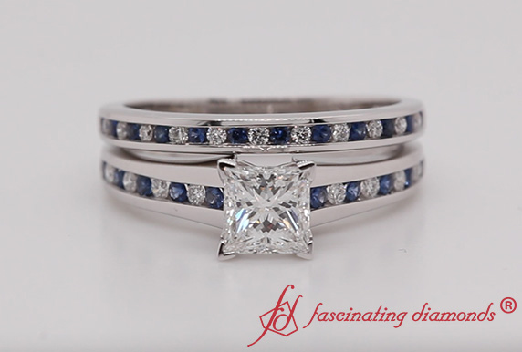 Channel Wedding Set With Sapphire
