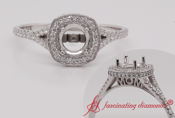 Under Halo Diamond Ring Setting