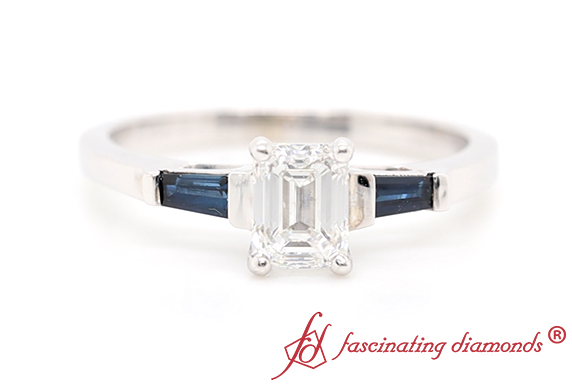 3 Stone Ring With Baguette Sapphire