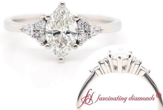 Delicate Marquise Cut Lab Diamond Ring