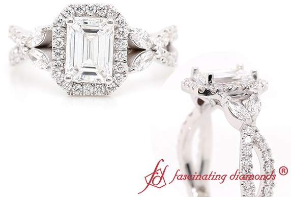 Halo Emerald Cut Diamond Ring