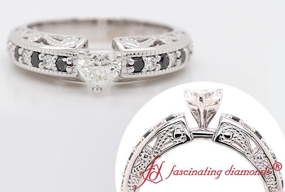 Filigree Ring With Black Diamond