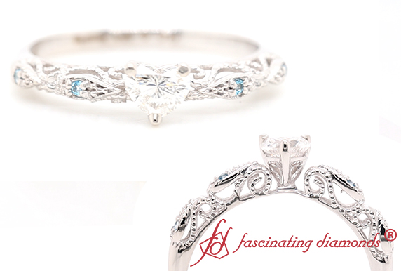 Heart Diamond Filigree Ring