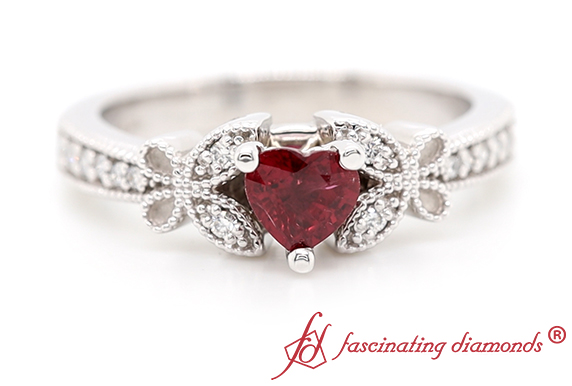 Heart Ruby Engagement Ring