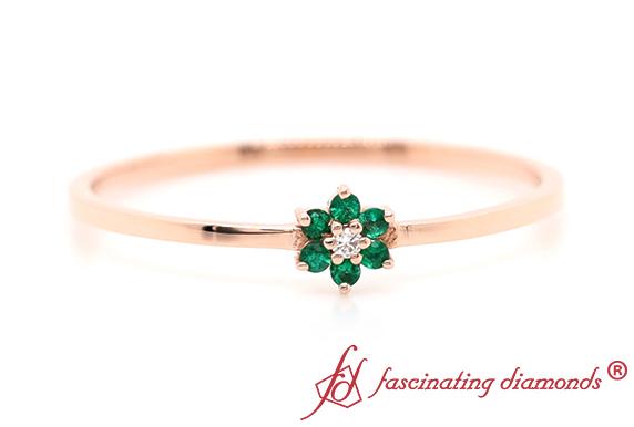 Stacking Flower Emerald Ring