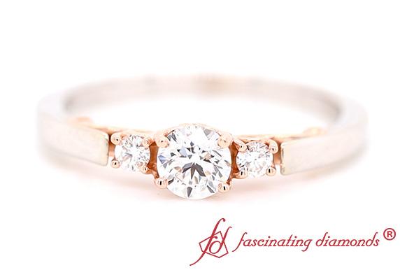 Two Tone 3 Stone Diamond Ring