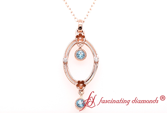 Oval Design Pendant With Topaz