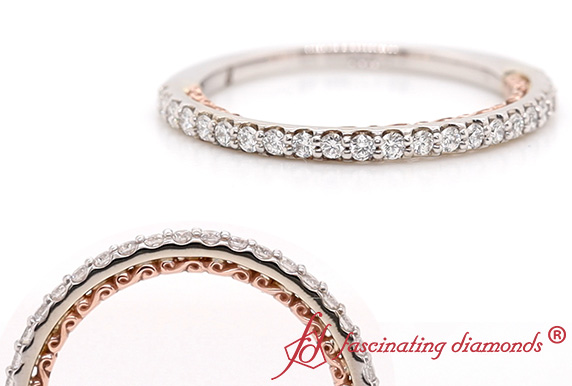 2 Tone Filigree Diamond Band