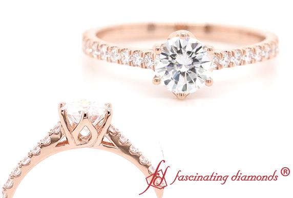 6 Prong Flower Moissanite Ring
