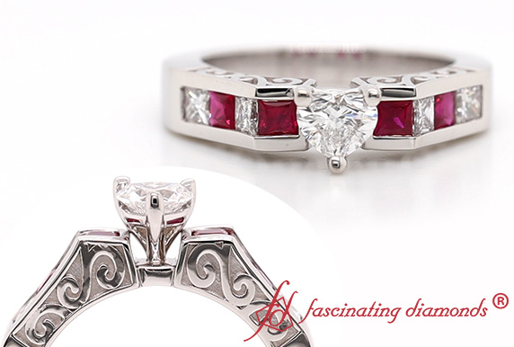 Antique Filigree Channel Set Ruby Ring
