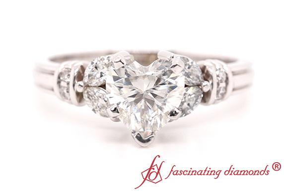 Antique Heart Moissanite Ring