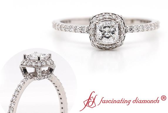 Diamond Princess Cut Halo Ring
