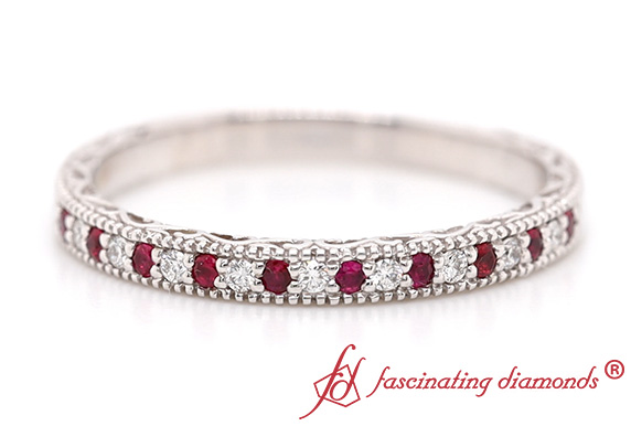 Wedding Band With Ruby