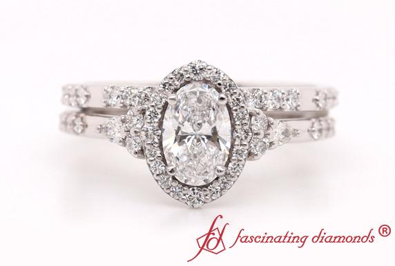 Halo Edwardian Diamond Bridal Set