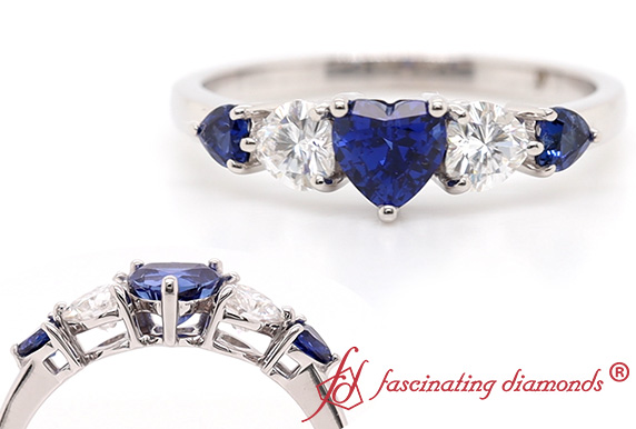 5 Stone Sapphire Wedding Band