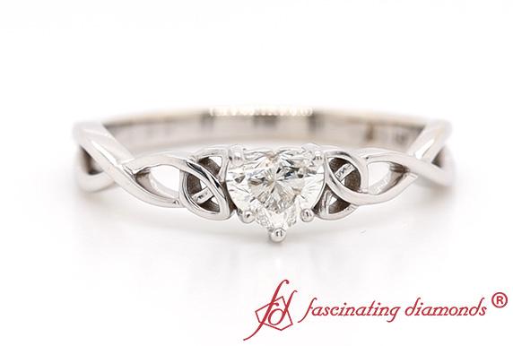 Heart Diamond Irish Solitaire Ring