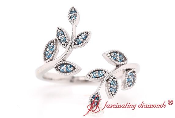 Open Milgrain Leaf Wedding Ring
