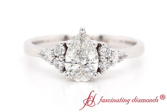 Pear Accent Diamond Engagement Ring