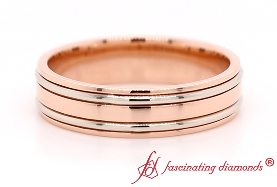 Two Tone Mens Wedding Ring