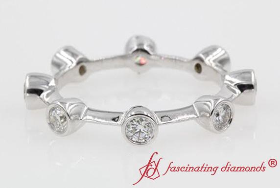 Bezel Set Eternity Diamond Anniversary Rings For Women In White Gold