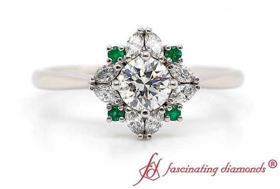 Art Deco Halo Diamond Ring