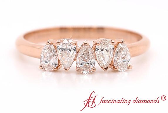 Five Stone Pear Diamond Band