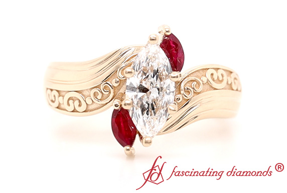 3 Stone Ring With Ruby