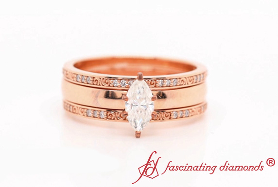Moissanite Filigree 3 Piece Bridal Set