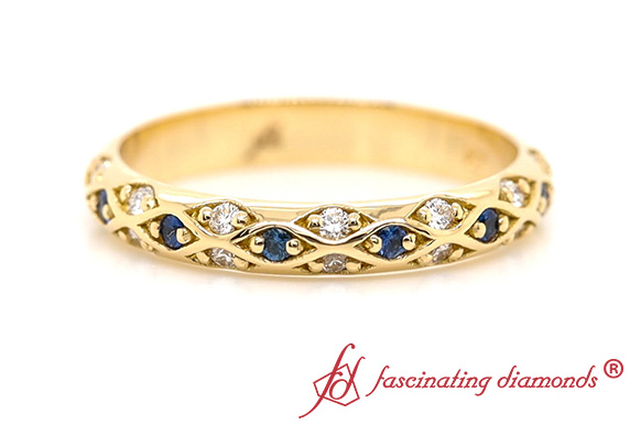Cross Diamond Band With Sapphire
