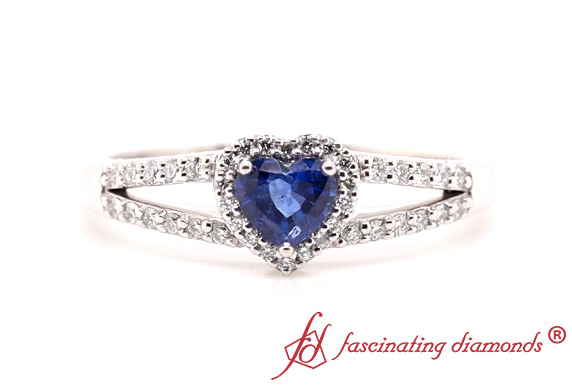 Sapphire Heart Halo Engagement Ring