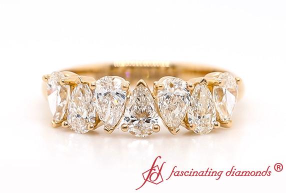 Seven Pear Diamond Wedding Band