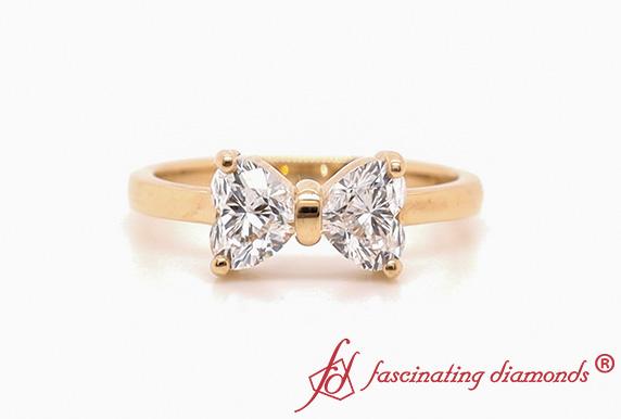 Heart Shaped Bow Diamond Ring