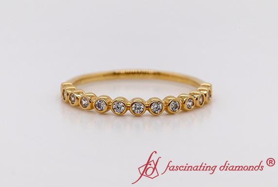 Gold Round Diamond Wedding Band