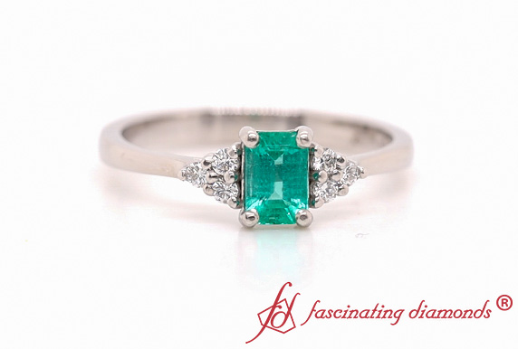 Dainty Cluster Emerald Ring