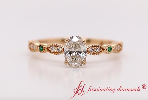 Art Deco Oval Lab Diamond Ring