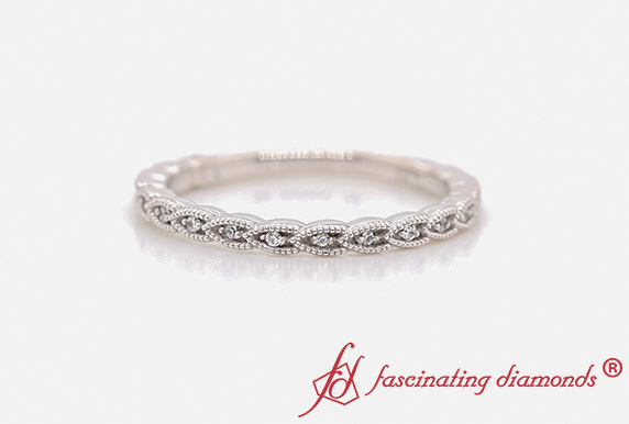Thin Braided Diamond Stack Band
