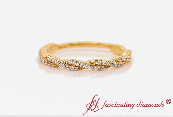 Braided Diamond Stack Gold Band